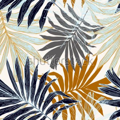 Fotomural Patrón sin problemas de la naturaleza. Fondo tropical abstracto dibujado mano del verano: la palmera se va en la silueta, línea arte. Ilustración de arte vectorial en colores retro dorados