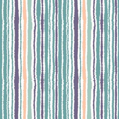 Fotomural Patrón transparente a rayas. Líneas estrechas verticales. Papel rasgado, triturar la textura del borde. Azul, blanco, naranja de color suave. Vector