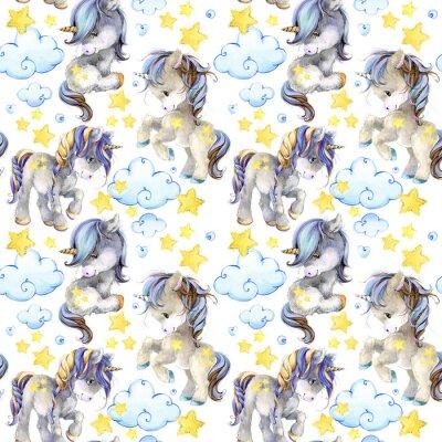 Fotomural patrón transparente acuarela lindo unicornio