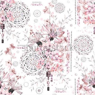 Fotomural patrón transparente con flores de acuarela y adornos con textura - mandala. Resumen floral azulejo con prado de flores silvestres y la ilustración geométrica.