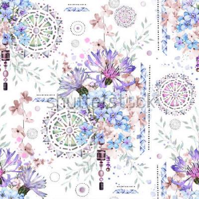 Fotomural patrón transparente con flores de acuarela y adornos con textura - mandala. Resumen floral azulejo con prado de flores silvestres y la ilustración geométrica. Acianos, yo-no