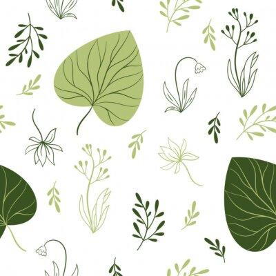 Fotomural patrón transparente con flores, elementos florales, diseño de tela