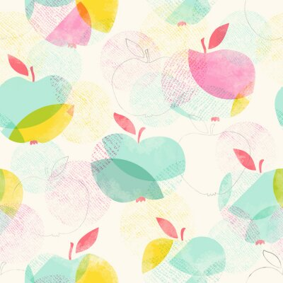 Fotomural Patrón transparente con manzanas