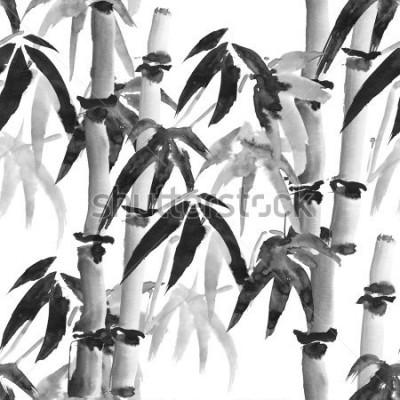 Fotomural Patrón transparente de tinta con bambú al estilo japonés sobre un fondo blanco