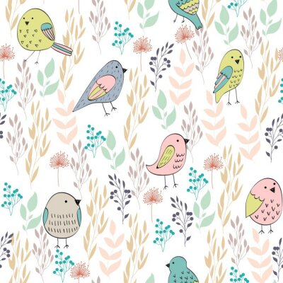 Fotomural Patrón transparente de vector con pájaros y flores