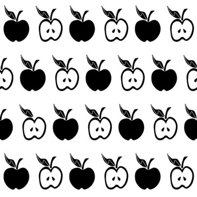 Fotomural Patrón transparente negro de manzana blanca
