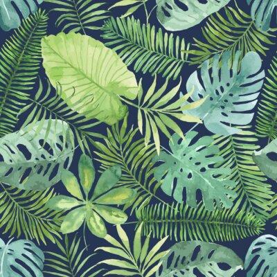 Fotomural Patrón transparente tropical con hojas. Fondo de acuarela con hojas tropicales.