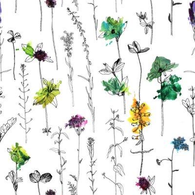 Fotomural Patrones sin fisuras con dibujo hierbas y flores