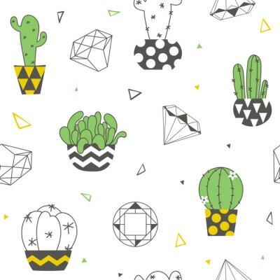 Fotomural Patrones sin fisuras con divertidos cactus