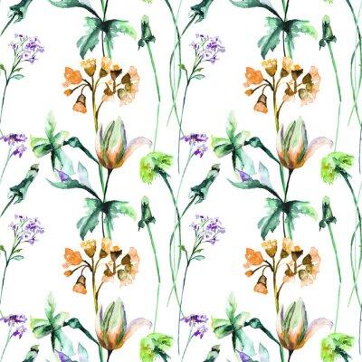 Fotomural Patrones sin fisuras con flores originales de verano