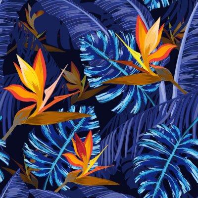 Fotomural Patrones sin fisuras con flores tropicales azules