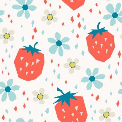 Fotomural patrones sin fisuras con fresas y flores