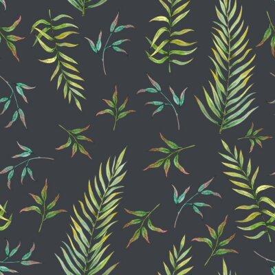 Fotomural patrones sin fisuras con hojas tropicales sobre un fondo oscuro