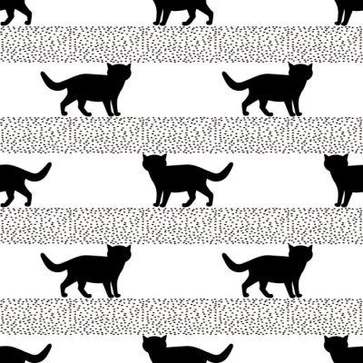 Fotomural Patrones sin fisuras con las siluetas del gato negro.