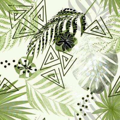 Fotomural Patrones tropicales coloridos sin fisuras. Hojas de palma verde, fondo blanco de flores.