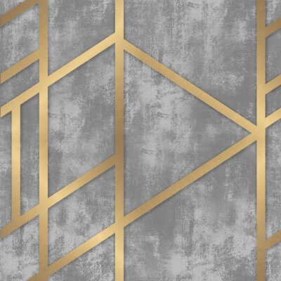 Fotomural pattern gray concrete with golden geometric lines