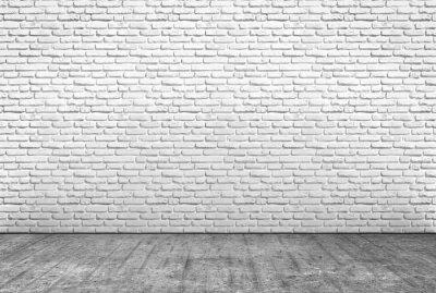 Fotomural Pavimento en cemento e muro en mattoni bianchi