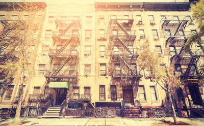 Fotomural Película vieja foto de estilo retro de la calle de Nueva York, EE.UU..