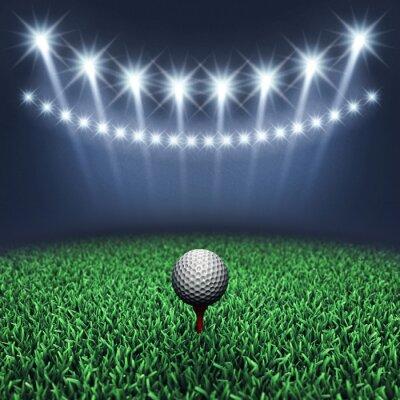 Fotomural Pelota de golf sobre hierba y focos, Torneo de golf, Campo de golf