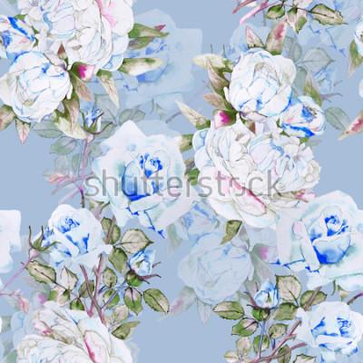 Fotomural Peonías y rosas patrón de ilustración acuarela