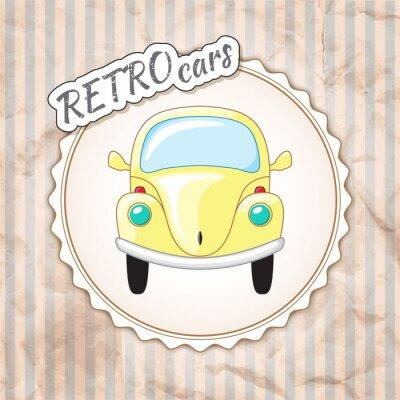 Fotomural Pequeño coche retro amarillo hermoso.