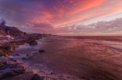 Fotomural PERTH playa rocas puesta de sol