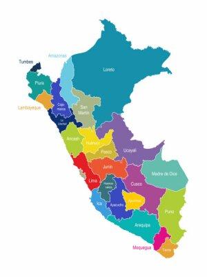 Fotomural Perú Mapa Regiones Vector