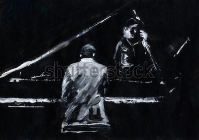 Fotomural Pianista y contrabasista. Concierto de banda de jazz. El pianista y el contrabajo actúan en el escenario. Elegante pintura abstracta en blanco y negro. Vista posterior y lateral. Músicos con instrumen