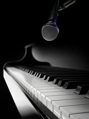 Fotomural Piano, teclas, negro, piano, micrófono