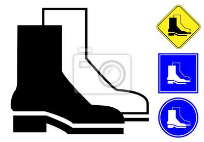 Pictograma calzado de protección y de los signos fotomural ... 44e7300521b25