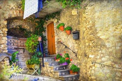 Fotomural Pictóricas calles antiguas de pueblos italianos