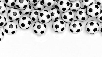 Fotomural Pila de bolas de clásicos del fútbol aislados en blanco con espacio de copia