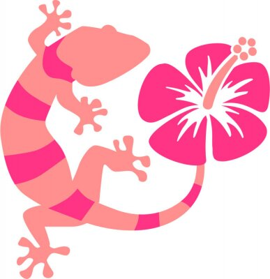 Fotomural Pink Gecko with hibiscus