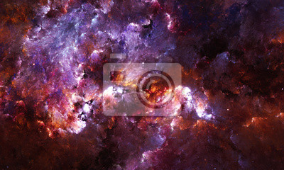 Fotomural Pintura abstracta de Digitaces de una nebulosa de la galaxia con las estrellas en espacio.