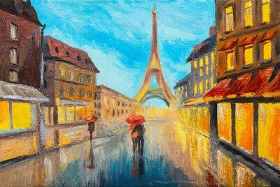 Fotomural Pintura al óleo de la torre Eiffel, Francia