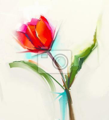 Pintura al óleo de una sola flor de tulipán rojo con hojas verdes ...