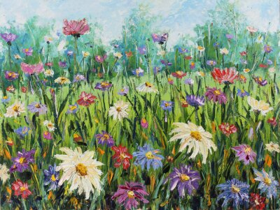 Fotomural , Pintura al óleo de Verano de flores silvestres