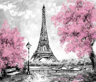Fotomural Pintura al óleo, París. Paisaje de la ciudad europea. Francia, Wallpaper, torre eiffel. Negro, blanco y rosa, Arte moderno
