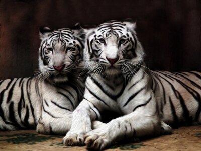 Fotomural Pintura al óleo Tigre blanco / efecto de la foto Pintura al óleo