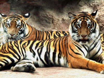 Fotomural Pintura al óleo Tigre / efecto de la foto Pintura al óleo