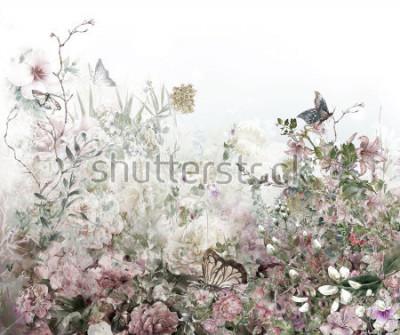 Fotomural Pintura colorida abstracta de la acuarela de las flores. Primavera multicolor en la naturaleza.