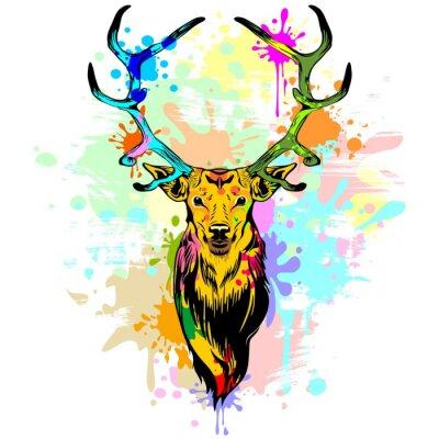 Fotomural Pintura de goteo de PopArt de los ciervos