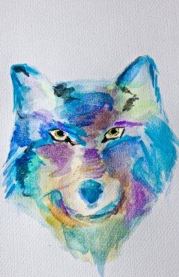 Fotomural Pintura de la acuarela Lobo en el fondo blanco del álbum. Técnica húmeda. Sombras púrpuras azules. Arte Moderno. Ocio.