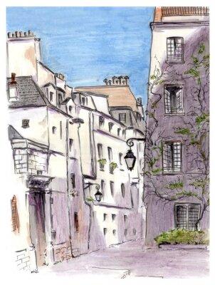 Fotomural Pintura de la calle de la ciudad europea de París