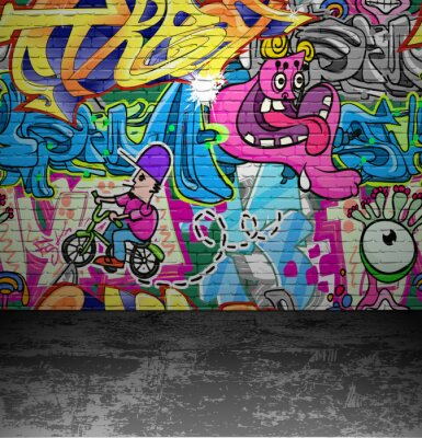 Fotomural Pintura del arte de la pared pintada de la calle urbana