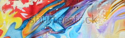 Fotomural Pinturas abstractas de graffiti en el muro de hormigón. Textura de fondo