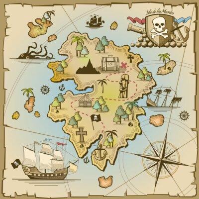Fotomural Pirata mapa del vector de la isla del tesoro