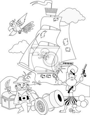 Piratas con un cañón y una página para colorear barco fotomural ...