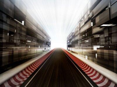 Fotomural pista de carreras en la ciudad de fondo de cristal bussiness