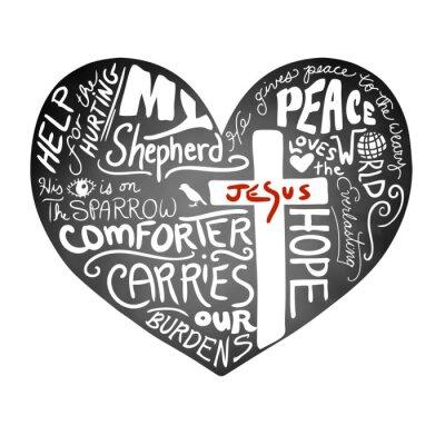 Fotomural Pizarra corazón vector con texto manuscrito blanco de la tipografía con la cruz cristiana y Jesús en letras rojas, inspirado diseño de boletín de la iglesia, la paz, el amor y la ayuda para el concept